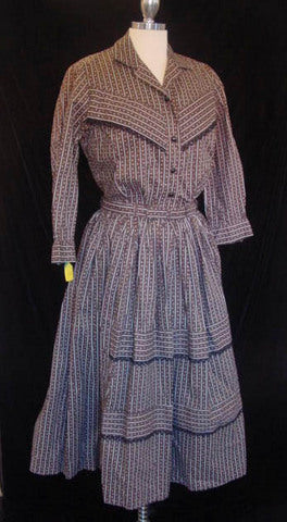 1950s Cowgirl 2 pc Calico Dress