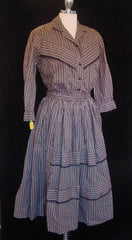 Daisy Fairbanks Vintage Boutique Vintage Clothing, Vintage Dresses, Vintage Fashion, Vintage Dress, 40s, 50s, 60s, 70s, 80s 1950s Cowgirl 2 pc Calico Dress :  hepburn fur sweater vintage