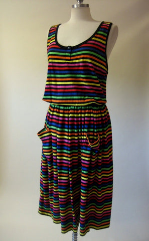 1980s Rainbow Stripe Jumper Dress