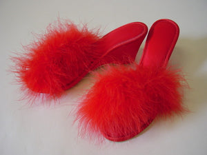 1960s Red Maribou Slippers