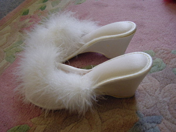 1960s White Maribou Slippers