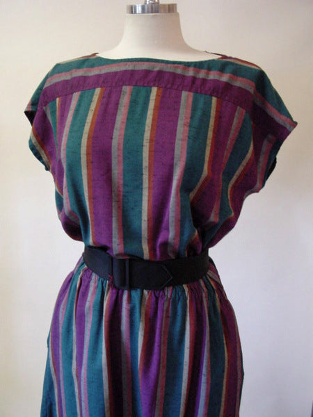 1970s Purple Stripe Tunic Dress