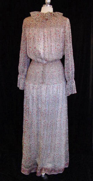 1970s Treacy Lowe Bohemian Maxi Dress