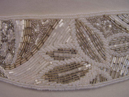 1970s White Beaded Belt