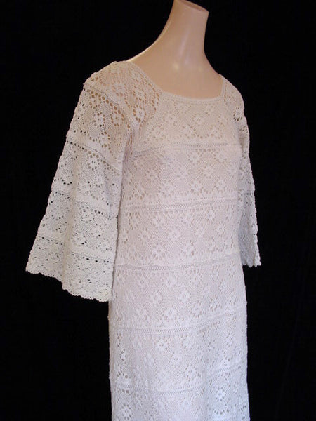 1970s White Crochet Maxi Dress