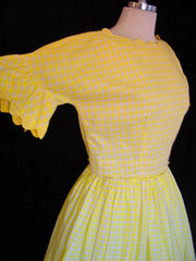 1950s Yellow Gingham 2pc Dress