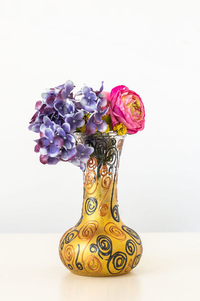 Swirly Golden Vogue Vase (8 inches tall)