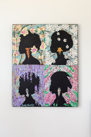 Four Flowers: Silhouette Series (16 x 20 inches)