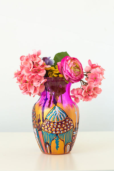 Pink and Gold Mosque Vase (9 inches tall)