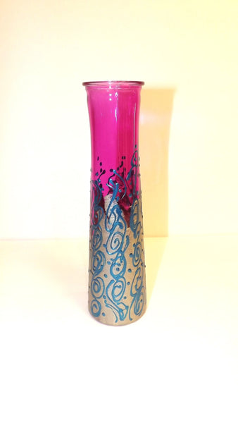 Purple and Silver Swirl Vase