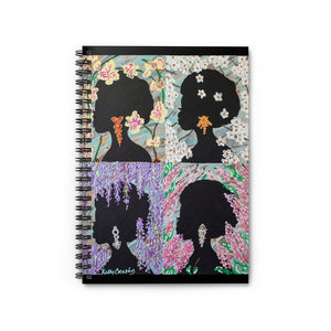 Four Flowers: Silhouette Series--Spiral Notebook - Ruled Line