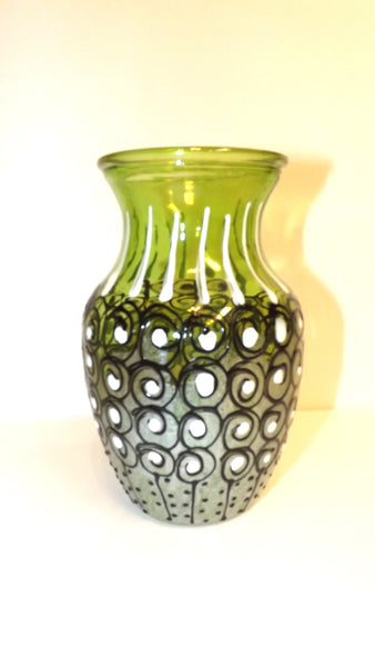 Green Dotted Black and White Vase