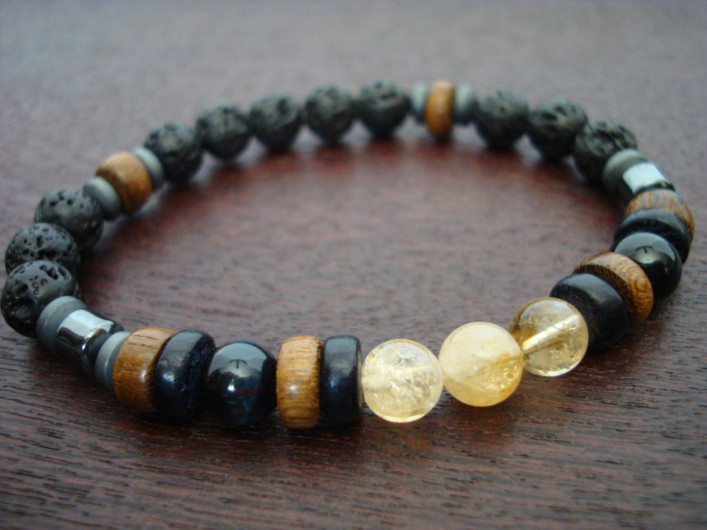Men's ECO Citrine & Blue Tigers Eye Bracelet