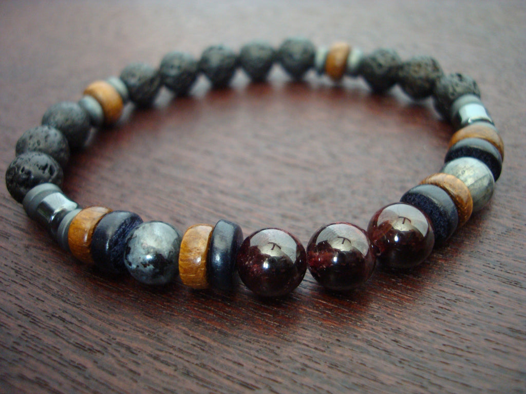 Men's ECO Garnet & Black Moonstone Bracelet