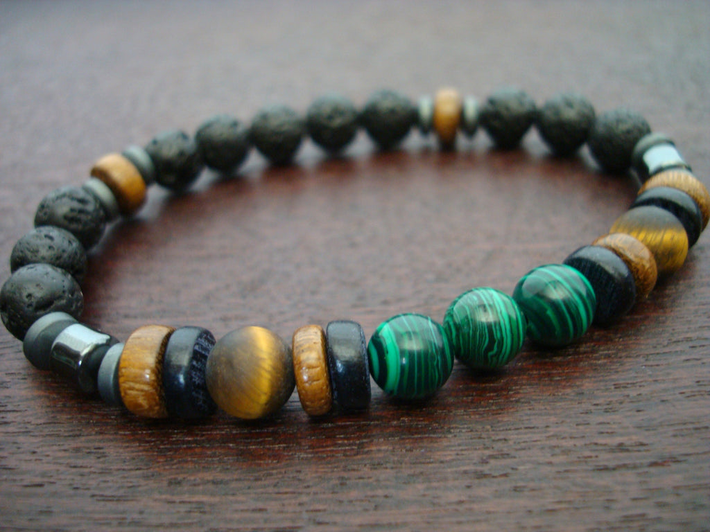 Men's ECO Malachite & Tigers Eye Bracelet
