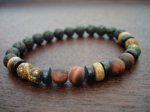 Men's ECO Matte Red Tigers Eye & Dzi Bead Bracelet