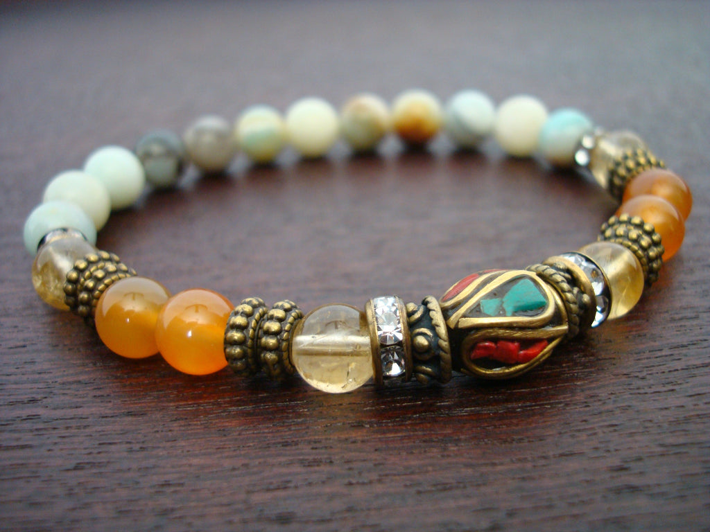 Women's Tibetan Carnelian & Citrine Success Mala Bracelet
