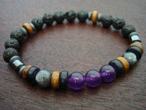 Men's ECO Fair Trade Amethyst Mala Bracelet