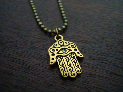 Mens Gold Hamsa Necklace