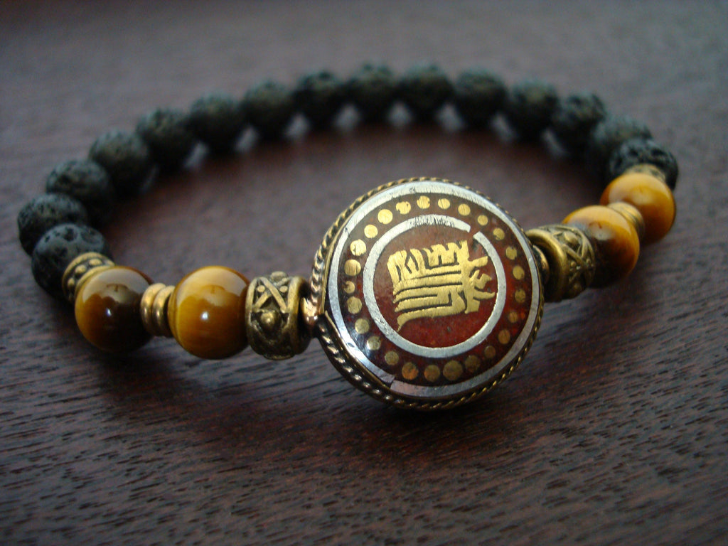 Men's Tibetan Peace Sign Mala Bracelet