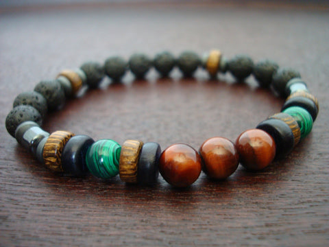 Men's ECO Red Tigers Eye & Malachite Bracelet