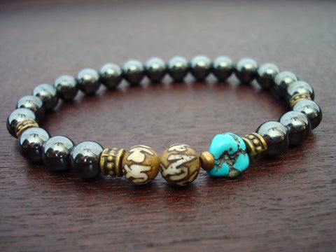 Men's Hematite & Arizona Turquoise Lotus Mantra Mala