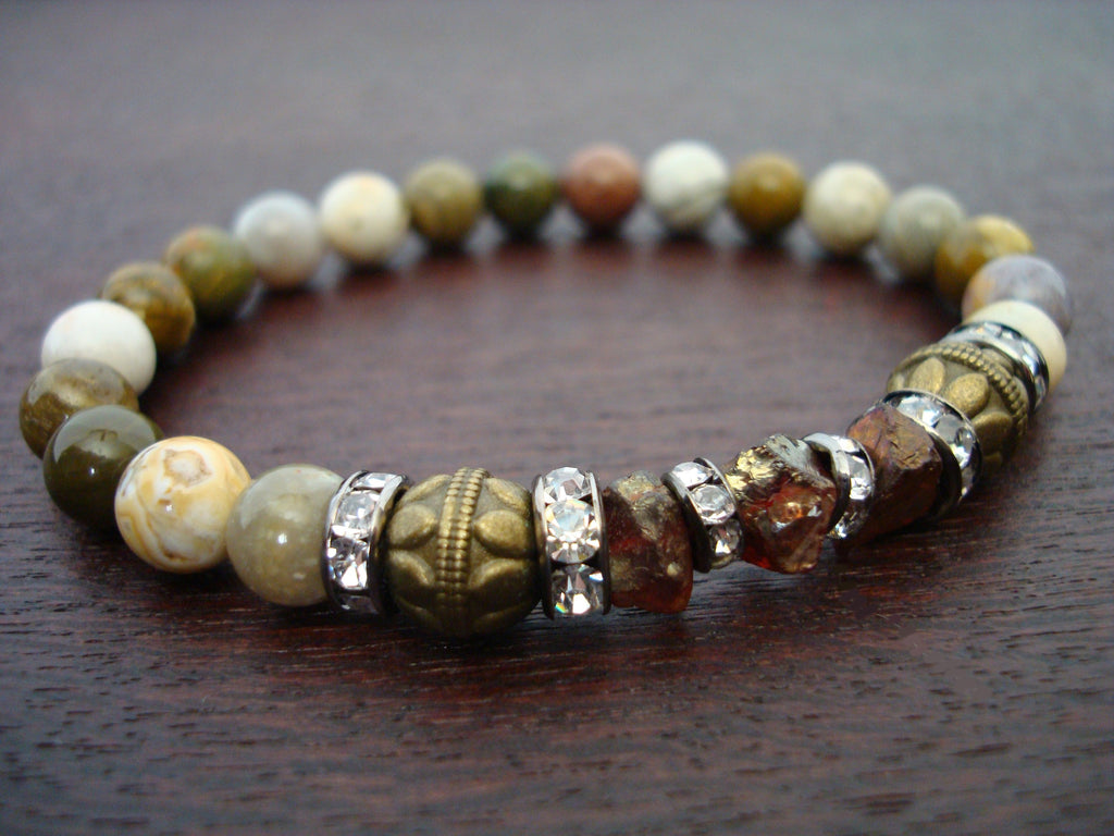 Women's Gold Dusted Garnet Mala Bracelet
