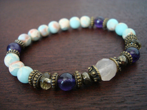 Women's Amethyst & Rose Quartz Stress Relief Mala Bracelet