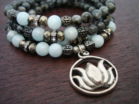 Women's Aquamarine & Black Moonstone Mala