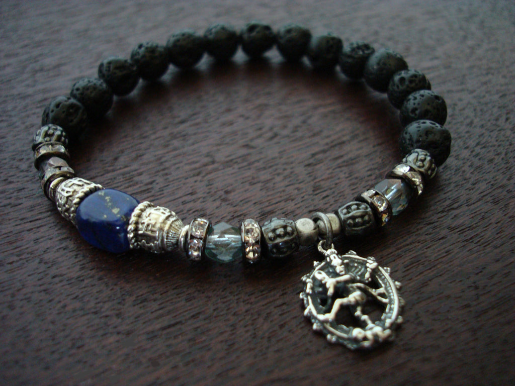 Women's Lapis Throat & Third Eye Chakra Mala Bracelet