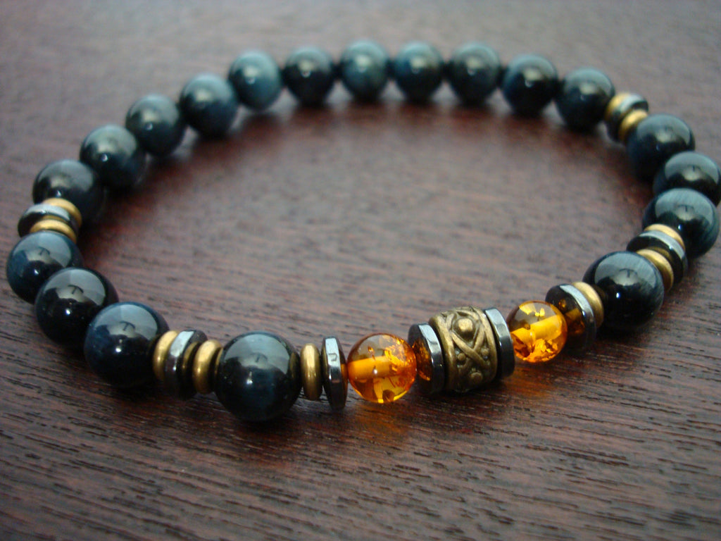 Men's Blue Tiger's Eye & Baltic Amber Bracelet