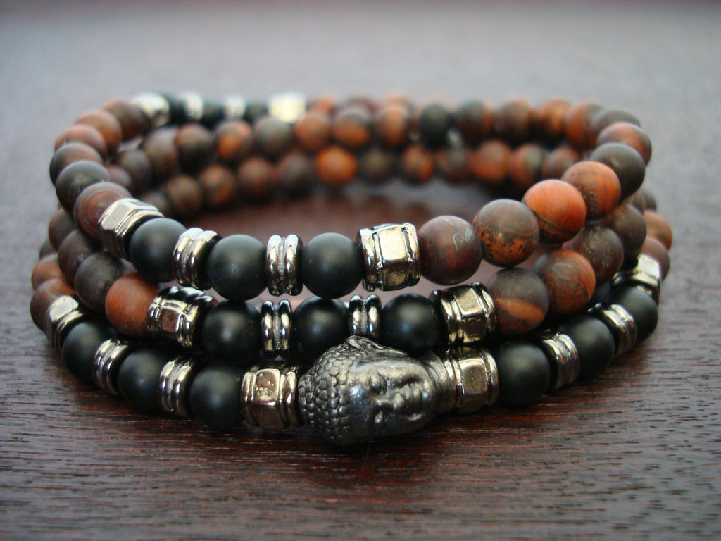 Matte Red Tiger Eye Mala | Choose a Charm