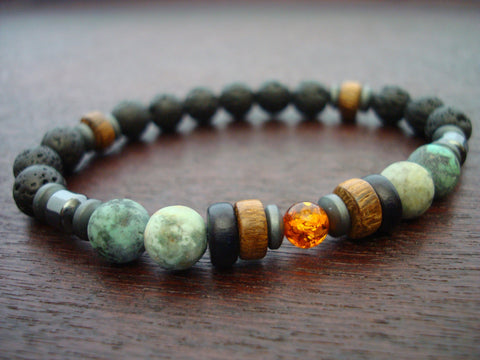 Men's ECO Baltic Amber & African Turquoise Bracelet