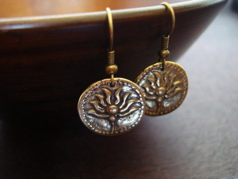 Women's Bronze Lotus Earrings