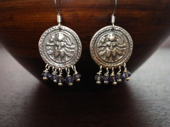Women's Water Sapphire Shiva Earrings