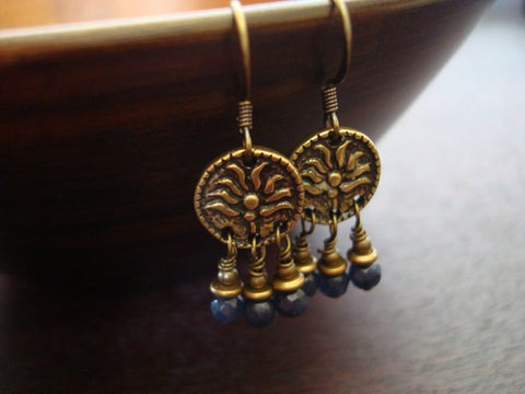 Women's Indian Sapphire Lotus Earrings