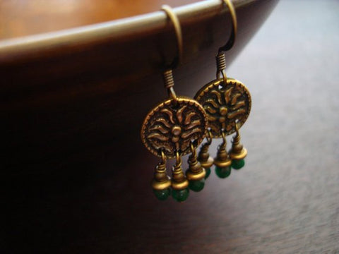 Women's Indian Emerald Lotus Earrings