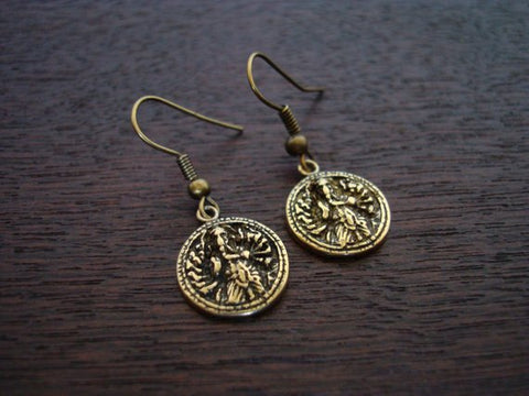 Women's Bronze Eight Armed Ganesha Earrings
