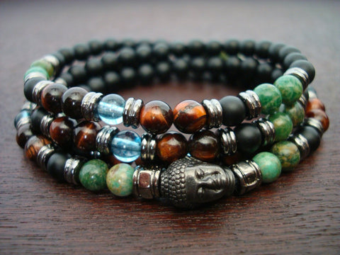 Red Tiger Eye & Jade Mala | Choose a Charm