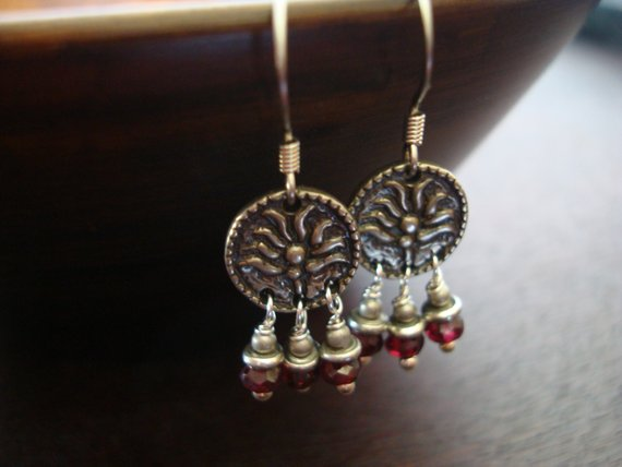 Women's Indian Garnet Lotus Earrings