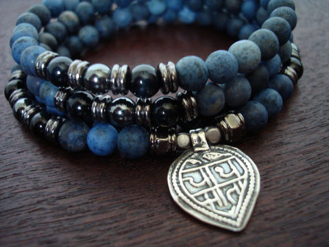 Matte Dumortierite Mala | Choose a Charm