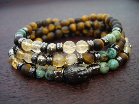 Matte Tiger Eye & Citrine Mala | Choose a Charm