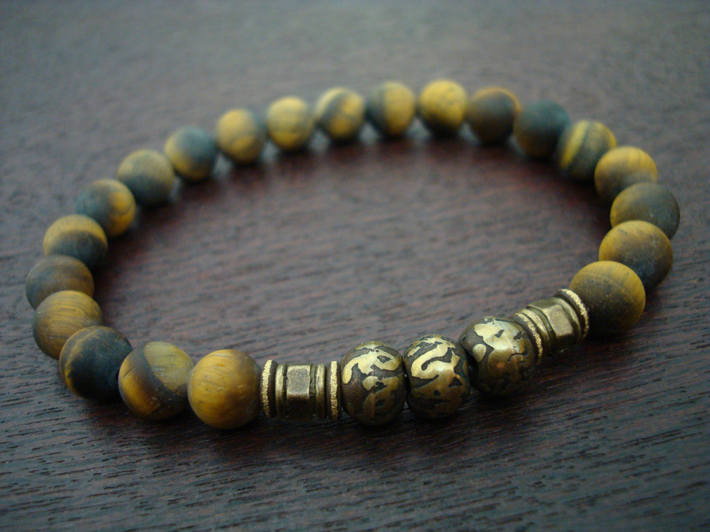 Men's Matte Tiger Eye Lotus Mantra Bracelet