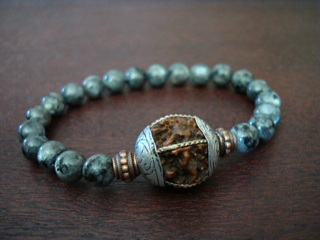Men's Black Moonstone Rudraksha Mala Bracelet