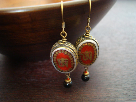Tibetan Coral Om Earrings