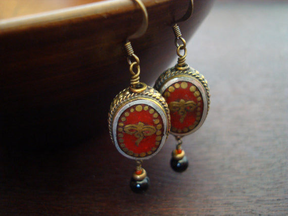Tibetan Coral Compassion Eyes Earrings