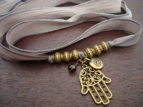 Hamsa, Lotus, & Smoky Quartz Silk Wrap