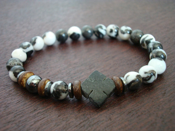 Men's Black Jade Cross Bracelet