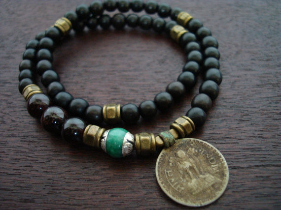 Tibetan Jade Indian Coin Mala Bracelet