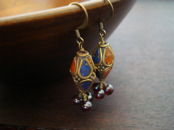 Tibetan Lapis & Carnelian Earrings